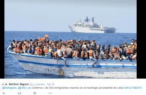 Снимка от публичен профил в туитър–лодка с бежанци с информация на испански език за съобщеното на ѝѝСС потъване на повече от 500 души опитали се да намерят убежище в Европа.