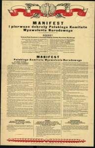 Уличен плакат с текста на издадения от Полския комитет за национално освобождение манифест. Снимка: Уикимедиа комънс.