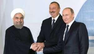 Президентите на Иран, Азербайджан и Русия–Хасан Рухани, Илхам Алиев и Владимир Путин