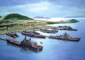 Рисунка, изобразяваща съветски кораби в Камран през 70-те