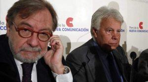 Хуан Луис Себриан и Фелипе Гонсалес на една от другите си многобройни общи конференции