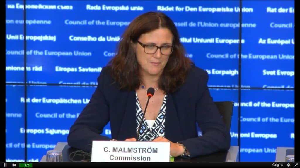 Европейският комисар по търговията Сесилия Малмстрьо