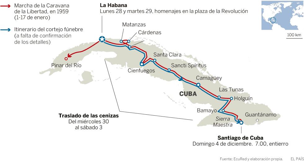 С червена линия е отбелязан походът на Колоната на свободата начело с Фидел през 1959 г. от Сантяго де Куба през Хавана до Пинар дел Рио. Със синя линия е маркиран маршрутът, който сега ще измине траурната процесия от Хавана до Сантяго де Куба