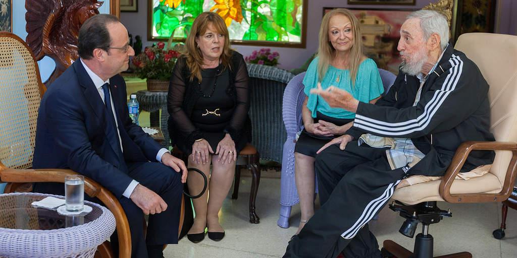 Франсоа Оланд гостува в дома на Фидел по време на посещението си в Куба през май 2015 г.