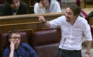 """Пабло Иглесиас в парламента през март т.г. обяви, че миналото на Фелипе Гонсалес е """"белязано от негасена вар"""""""