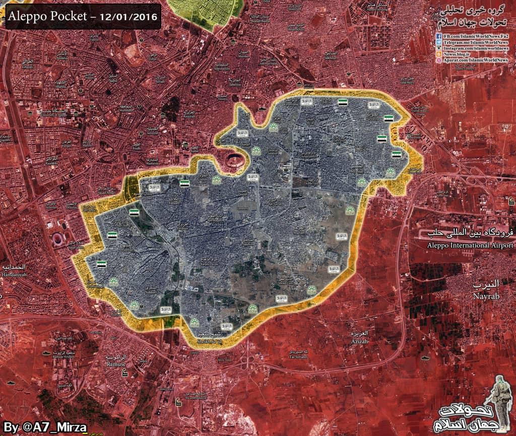 В края на ноември сирийската армия и съюзниците ѝ успяха да изтласкат бунтовниците от половината контролирани от тях територии в Алепо