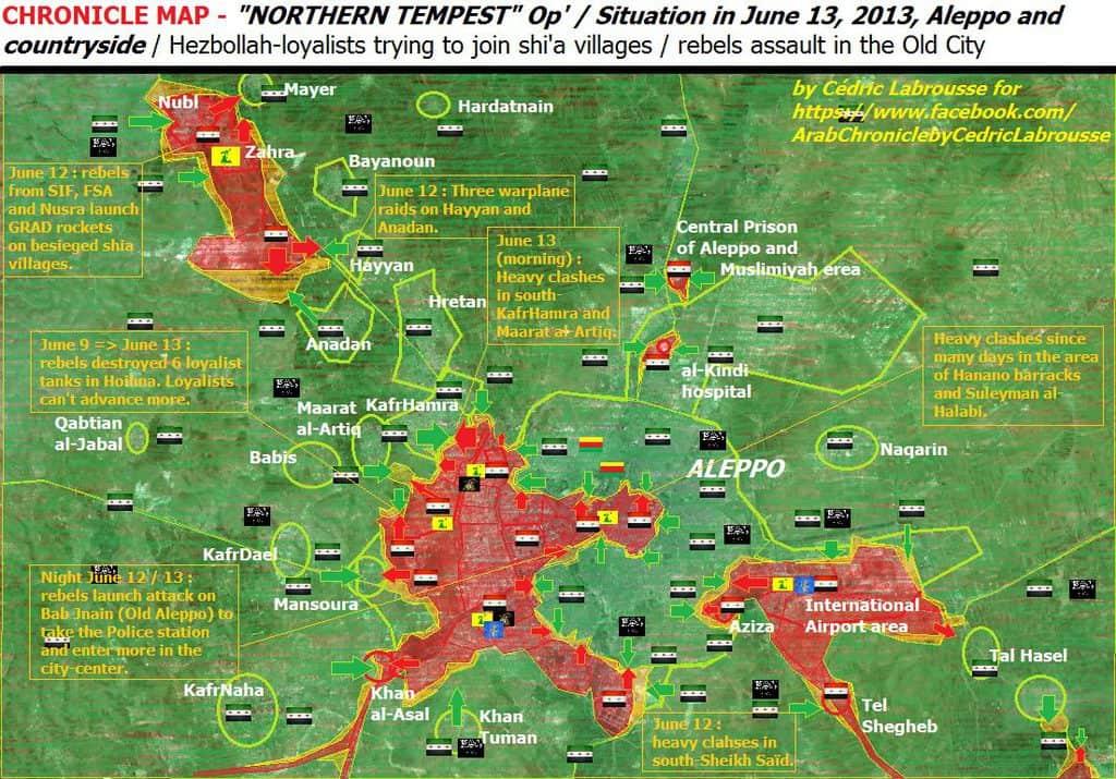 През 2013 г. фронтовете в Алепо изглеждаха съвсем различно–контролираните от правителството квартали бяха обсадени от бунтовниците и нарастващият брой ислямисти