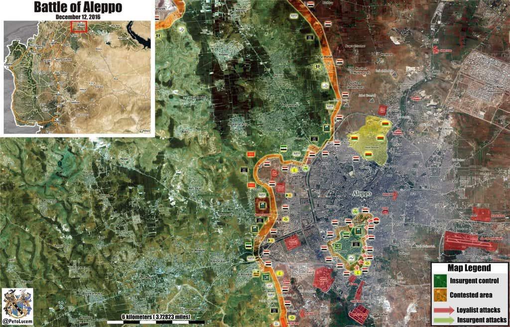 Военната ситуация в Алепо към 12 декември