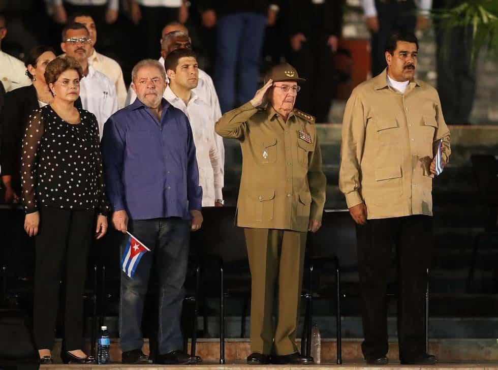 Дилма Русеф, Лула да Силва, Раул Кастро и Николас Мадуро на траурния митинг в Сантяго да Куба