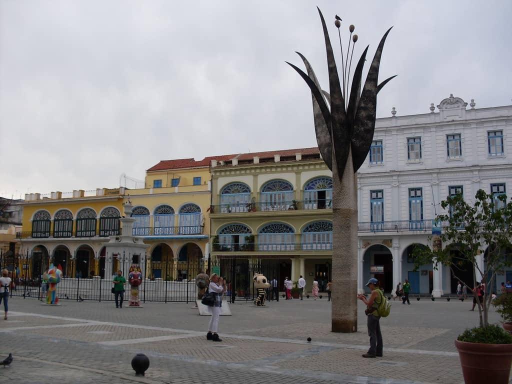 В средата на Пласа Виеха (Стария площад) има и нова, модернистична скулптора на стилизирано лале
