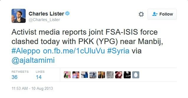 """През 2013 г. спонсорираният от Саудитска Арабия експерт по Близкия Изток Чарлз Листер не вижда нищо притеснително в това, че """"Свободната сирийска армия"""" напада кюрдите заедно с ИДИЛ"""