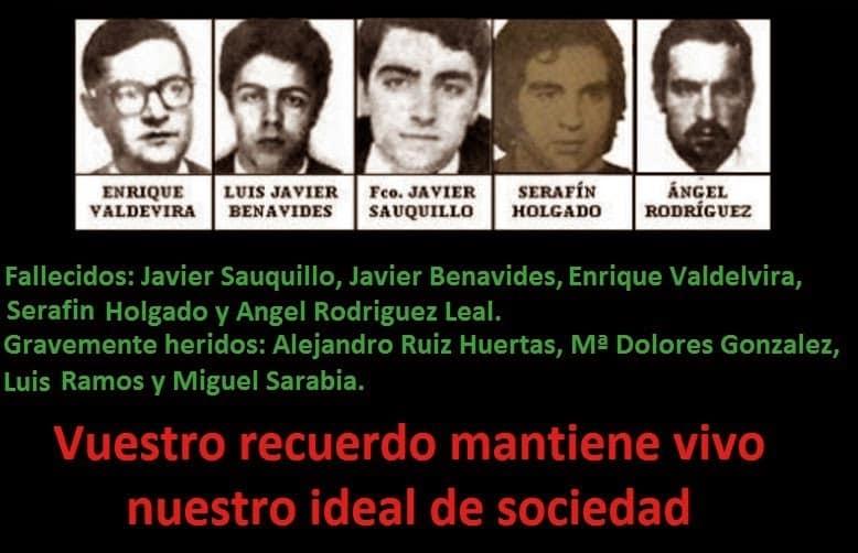 """На това възпоменание с портретите на убитите на улица """"Аточа"""" адвокати са изредени също и имената на ранените. А с червени букви е написано: """"Споменът за вас поддържа жив нашия обществен идеал."""""""