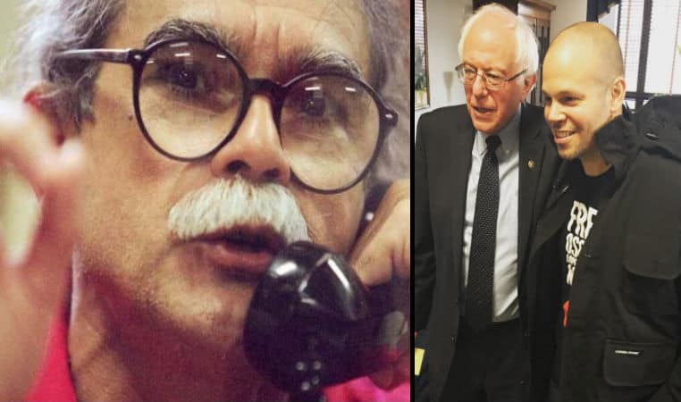 За свободата на Оскар Лопес настояваше и състезавалия се за кандидат-президентската номинация на демократите Бърни Сандърс (вляво), който тук е сниман със солиста на пуерториканската група Calle 13, също активно поддържала прочутия затворник