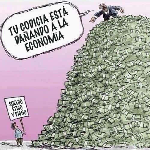 """На плаката на човека с плаката в подножието на купчината пари пише: """"Почтена и достойна заплата"""". Богаташът от върха на купчината му отвръща: """"Твоята алчност ощетява икономиката"""". Репродукция: Туитър"""