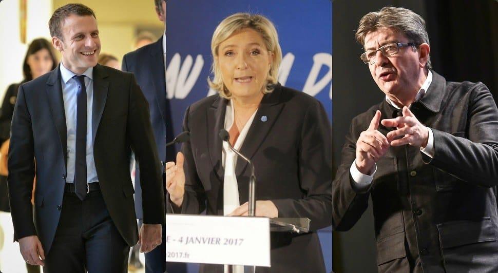Еманюел Макрон, Марин льо Пен и Жан-Люк Меланшон (отляво надясно). Снимка: frenchelection.online