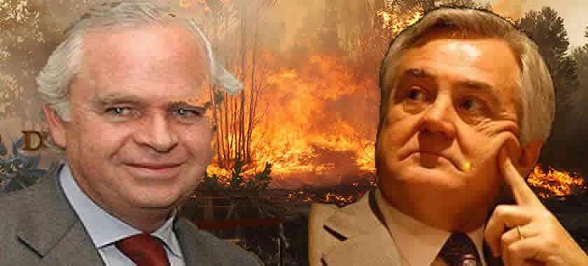 """Сайтът reddigigital.cl илюстрира статията си с колаж, включващ босовете на фамилия Мати (вляво) и на група """"Анджелини"""" на фона на горски пожари"""