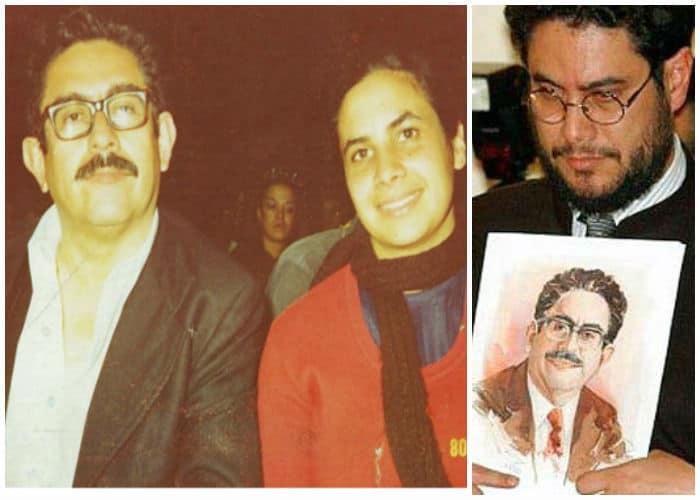 Мануел Сепеда и Йира Кастро през 70-те (вляво) и синът им Иван Сепеда с портрет на баща си скоро след убийството на Мануел Сепеда (вдясно). Снимки: личен архив