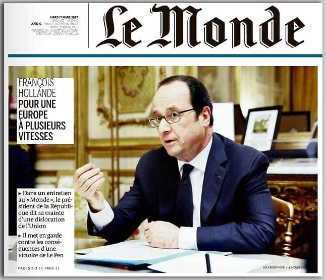 """""""Европа на скоростите"""" вече е проект за реализация, а не тема за дискусия, казва Франсоа Оланд пред """"Монд"""""""