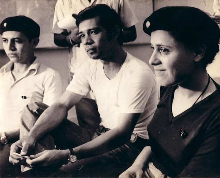"""Отляво надясно: Уго Торес или Команданте """"Уно"""", Роберто Монтенегро, още един от участниците в групата, и Дора Мария Тейес или Команданте """"Дос"""". Снимка: архив"""