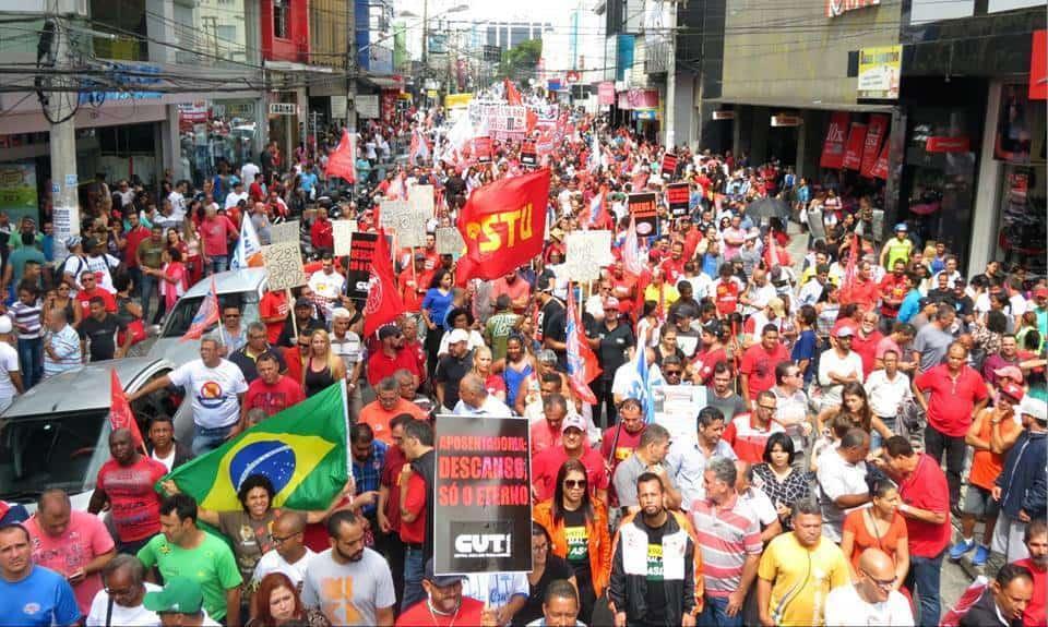 Стачните протести в Бразилия сочат решително отхвърляне на опитите за десен завой в Латинска Америка. Снимка: Туитър