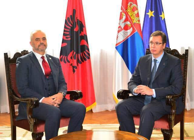 Еди Рама и Александър Вучич по време на историческото посещение на албанския премиер в Белград преди три години. Снимка: europeanwesternbalkans