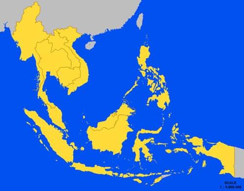 В жълто са страните членки на АСЕАН