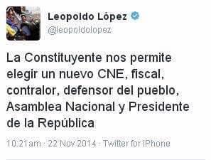 Туитът на Леополдо Лопес от 2014 г.