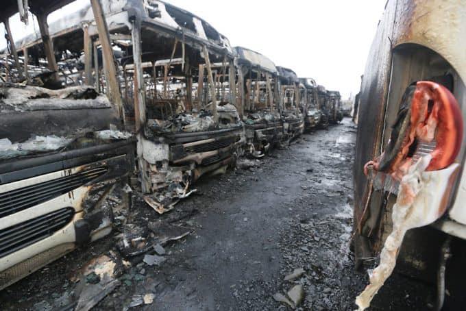 50 автобуса са били подплени в Пуерто Ордас. Снимка: Gobernación de Bolívar