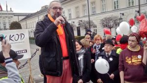 Mateusz Kijowski, the leader of KOD, Democracy Defense Committee, the most political Polish hipster notoriously evading child support payments.