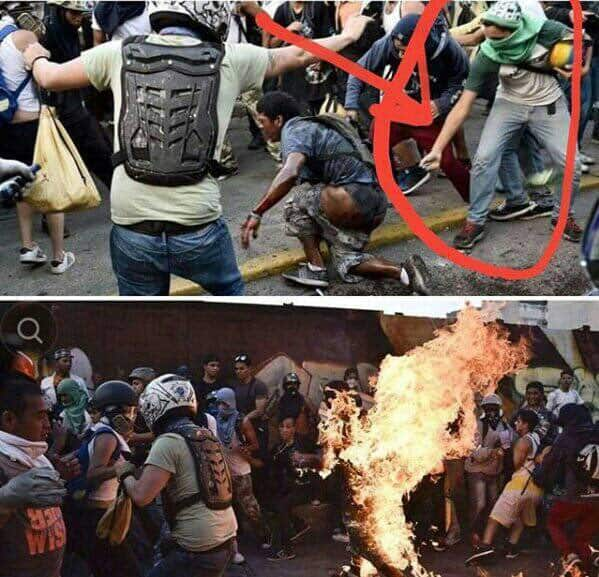 На тези кадри, взети от профила на управляващата Единна социалистическа партия на Венесуела (PSUV) в Туитър, в кръг е заградена ръката, която се протяга да подпали пребития и залят с бензин Орландо Хосе Фигера, както и пламването му след това.