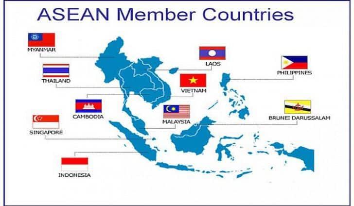 Страните членки на АСЕАН са отбелязани със знамената си
