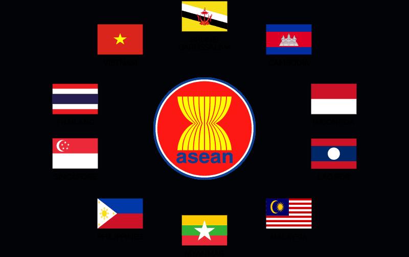 Логото на АСЕАН и националните флагове на десетте членки на организацията