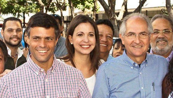 "Венесуелските ""умни и красиви""–на преден план отляво надясно са Леополдо Лопес Мендоса, Мария Корина Мачадо и Антонио Ледесма. Снимка: TeleSur"