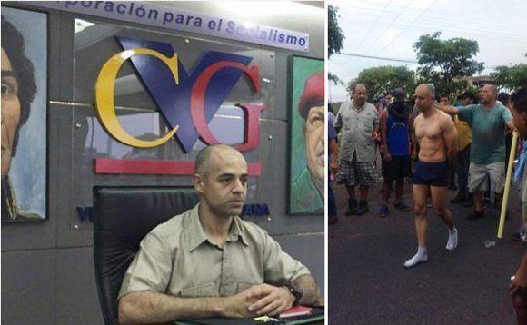Луис Мехиас от железницата Ferrominera е съблечен и публично бит от демонстранти в Пуерто Ордас. Източник: Туитър