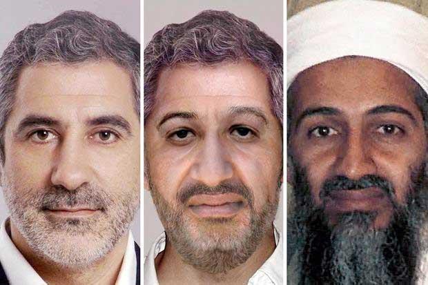 """Скандалният фотошоп на ФБР от 2010 г. (в средата) с използването на образа на Гаспар Ямасарес (оригиналната му снимка е вляво), за да се представи Осама бин Ладен (вдясно) като """"остарял"""". Снимка: cronica popular"""