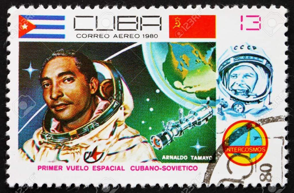 Пощенска марка, с която Куба ознаменува полета на своя космонавт