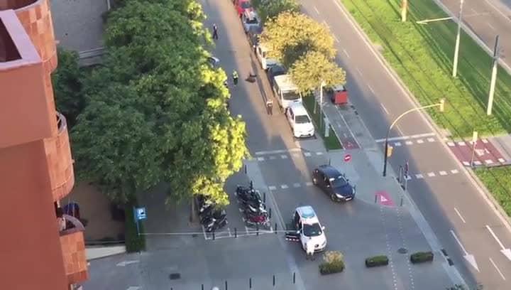 От кадрите, снимани от жителя на квартал Сан Жуст Десверн, не личи какво точно става около белия форд, защото той остава скрит от дърветата в лявата част. Снимка: La Vanguardia