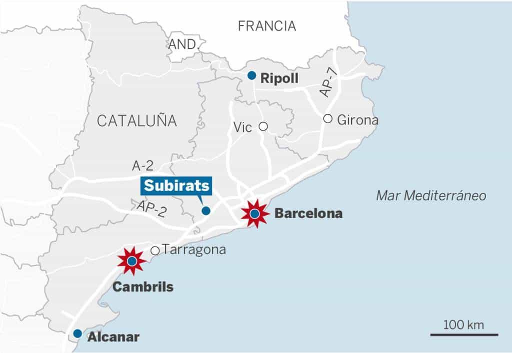 На картата личи разположението на градовете, в които се разиграва цялата драма–Рипол, Барселона, Камбрилс, Алканар, както и селището Субиратс, около което е застрелян Юнес Абуяакуб. Схема: El Pais