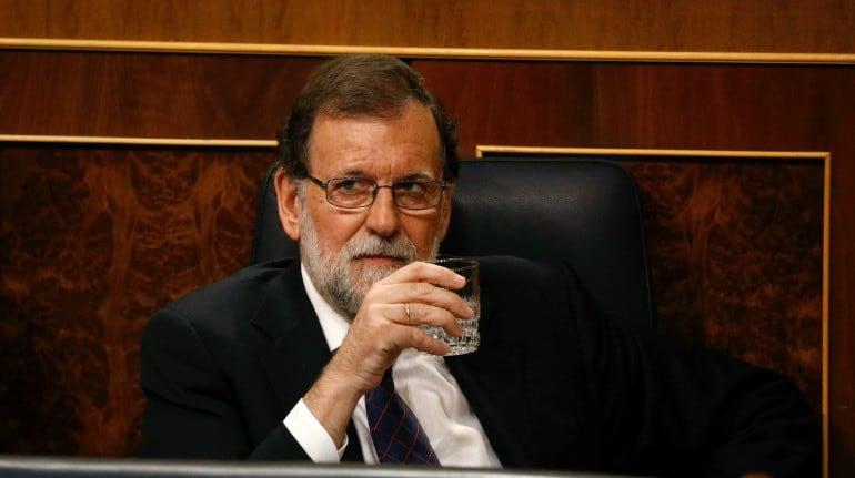 Премиерът Мариано Рахой по време на парламентарната сесия на 30 август, посветена на корупцията в неговата Народна партия. Снимка: Cadena SER