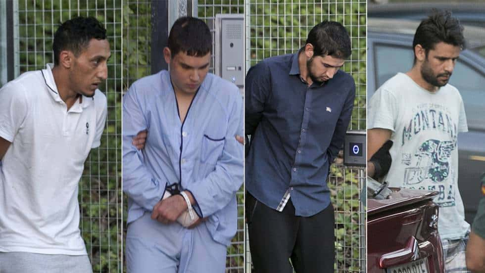 Четиримата арестувани от терористичната клетка–Дрис Укабир, Мохамед Хули Шемлал, Мохамед Аалаа и Салах Ел Кариб. Снимки: EFE