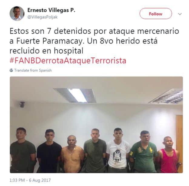 """Министърът на инфорацията и комуникацията на Венесуела Ернесто Вийегас пусна в своя Туитър пленените 7 нападатели на казармата """"Парамакай"""""""