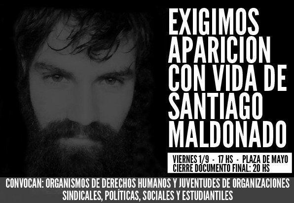 """На 1 септември от 17 ч. на площад """"Май"""" пред президентския дворец в Буенос Айрес се свиква голям митинг с искането Сантяго Малдонадо да бъде намерен жив. Снимка: Resumen Latinoamericano"""
