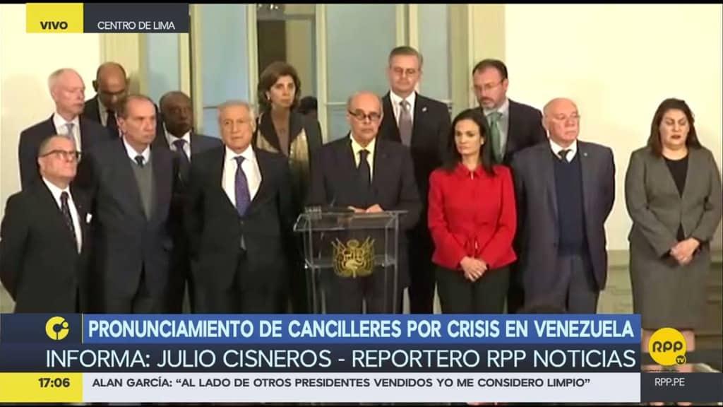 """12-те латиноамерикански и карибски външни министри подписали """"Декларацията от Лима"""". Снимка: RPP"""