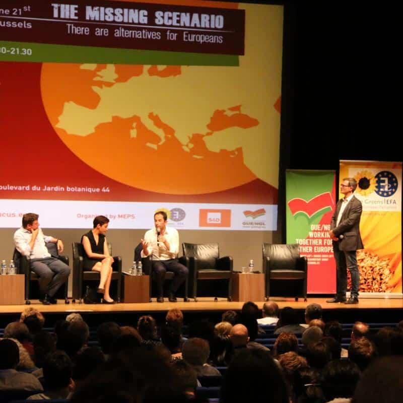 """""""Липсващият сценарий"""" бе надсловът на конференцията на Прогресивния форум в Брюксел през юни. С микрофона е Беноа Амон. Снимка: Европейски парламент"""