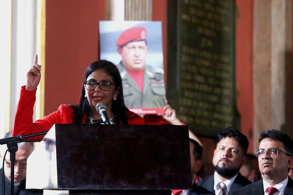 Делси Родригес по време на речта, с която открива новото Конституционно събрание. Снимка: ANC