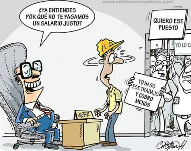 """Тази карикатура от аржентинския сайт taringa.net онагледява как компаниите по цял свят рекетират работниците да се съгласяват на все по-ниско заплащане. """"Шефът"""" от илюстрацията пита работника с каската: """"Разбра ли защо не ти плащаме справедлива заплата?"""" Напиращите да влязат през вратата държат надписи: """"Искам това място"""" и """"Върша същата работа и взимам по-малко"""""""