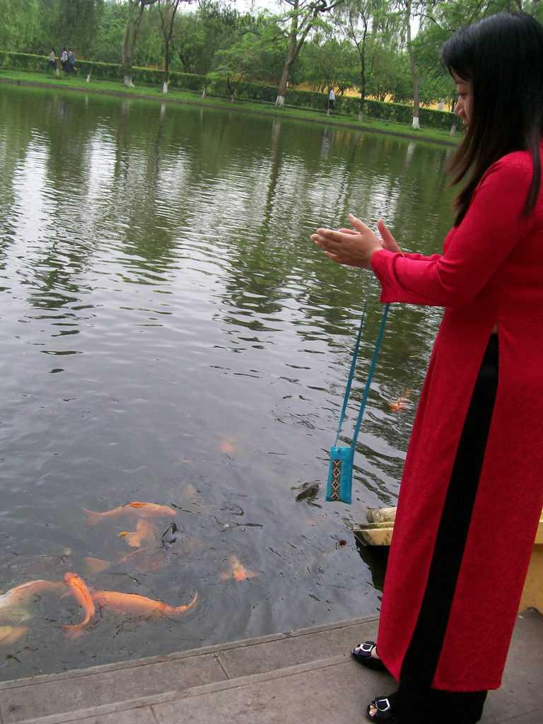 Екскурзоводка показва как с пляскане на ръце Хо Ши Мин е викал рибите в езерото, за да ги нахрани. Снимка: Къдринка Къдринова