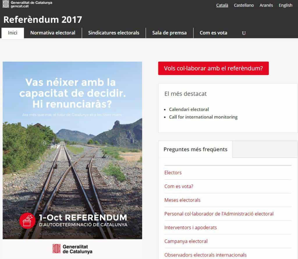 Така изглежда електронната страница за каталунския референдум