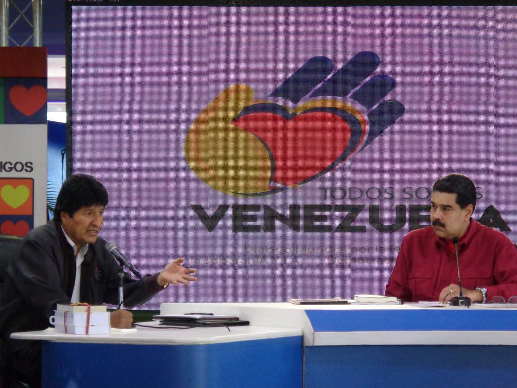 Ево Моралес и Николас Мадуро по време на срещата. Снимка: Къдринка Къдринова