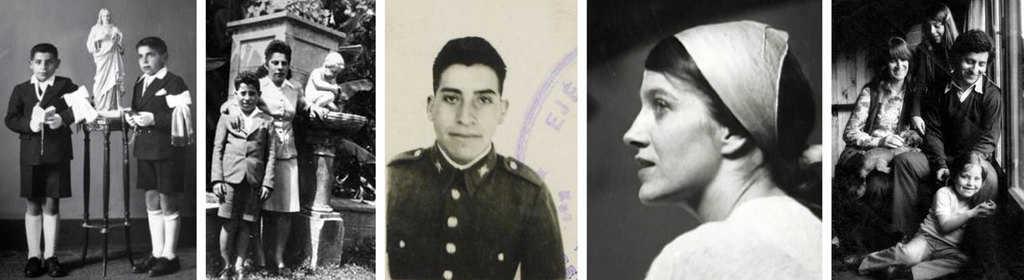 """На тази серия снимки отляво надясно може да се види малкият Виктор с един от братята си по време на причастие, с майка си Аманда Мартинес, като войник, младата Джоан (в профил) при запознанството им и семейната им снимка с дъщерите Мануела и Аманда малко преди убийството на певеца. Снимка: Фондация """"Виктор Хара"""""""